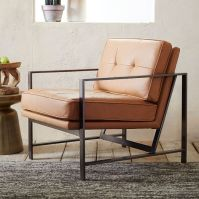 Metal Frame Tufted Leather Chair | west elm