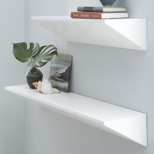White Floating Shelves Floating Wedge Shelf - White | West Elm