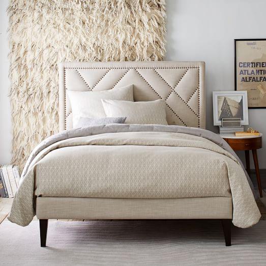 Narrow Leg Upholstered Bed Frame Linen Weave West Elm