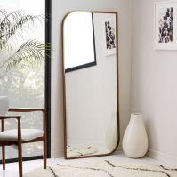 Metal Framed Asymmetrical Floor Mirror - Rose Gold | west elm