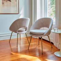 Orb Upholstered Dining Chair - Antique Brass Legs | west elm
