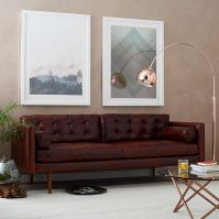 "Monroe Mid-Century Leather Sofa (80"") 