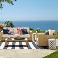 Patio Stripe Indoor/Outdoor Rug, Dress Blue | Williams-Sonoma