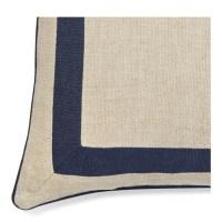 Linen Border Pillow Cover, Navy