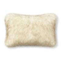 Faux Fur Lumbar Pillow Cover, White Sable | Williams Sonoma