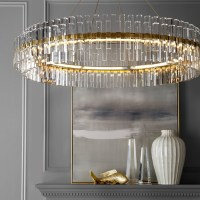 "Phoebe 48"" Round Crystal Chandelier, Antique Brass"