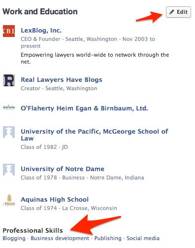Adding professional skills on Facebook ala LinkedIn