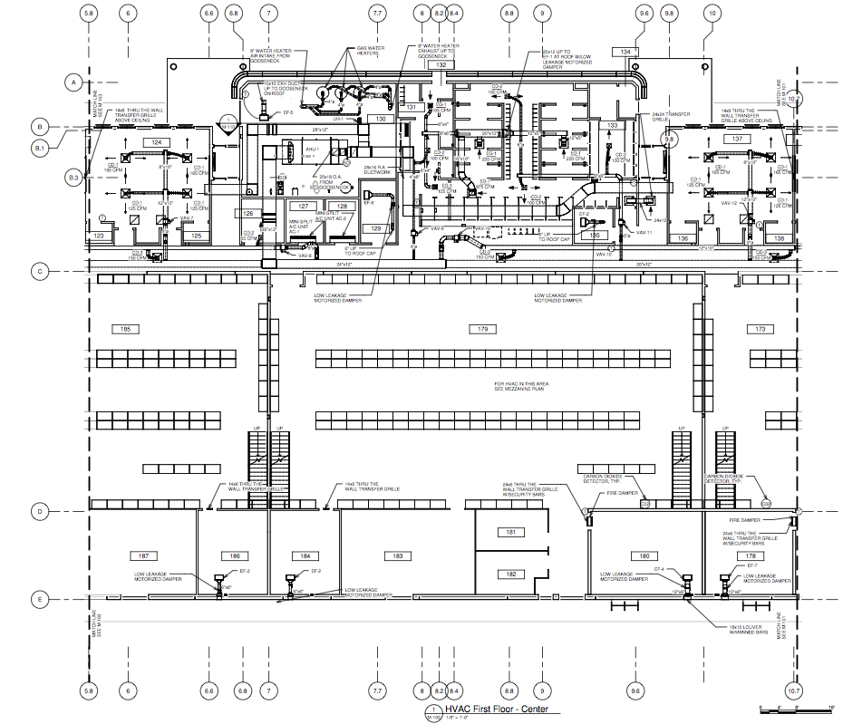 DRAFTING SAMPLE \u2013 DUCTS \u2013 PARTIAL FLOOR PLAN \u2013 A RLJ of South