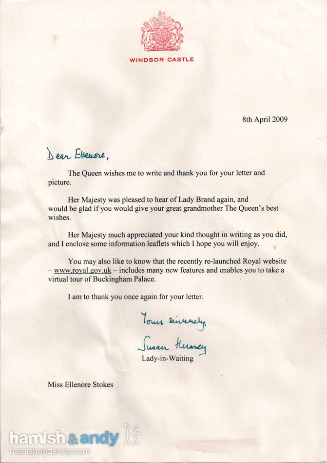 Re Letter from the Queen Hamish  Andy