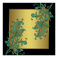 Black Gold Elegant Floral Wall Art Print