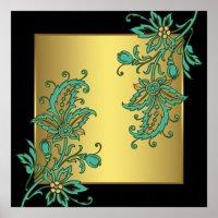 Black Gold Elegant Floral Wall Art Print | Zazzle