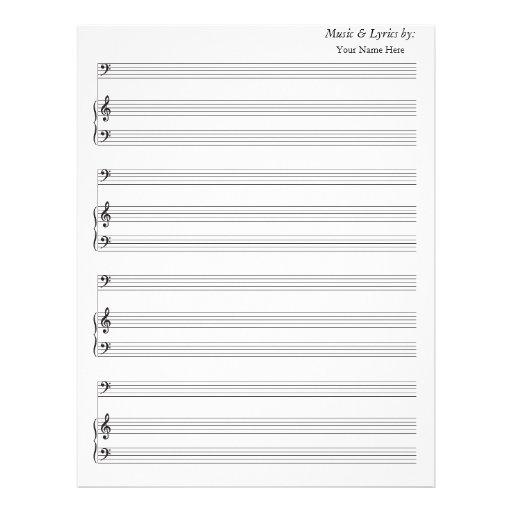 Blank Sheet Music Paper Bass Clef - music paper template