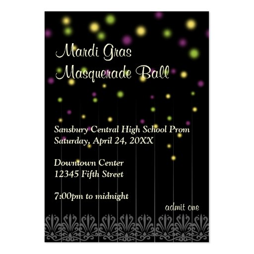 mardi gras ticket template - Ball Ticket Template