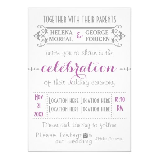 Modern typography with Instagram hashtag wedding 5x7 Paper ...