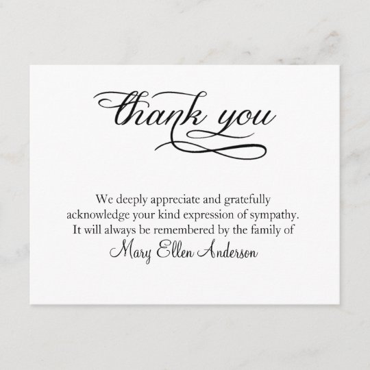 Thank You Funeral Thank You Note Card behreavement Zazzlenz - Thank You Note