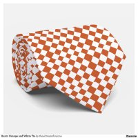Burnt Orange and White Tie | Zazzle