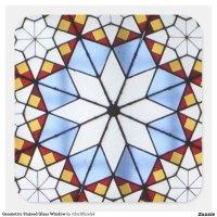 Geometric Stained Glass Window Square Sticker   Zazzle