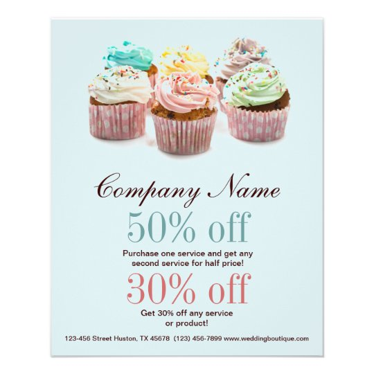 girly modern elegant bakery colourful cupcake flyer Zazzleuk