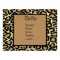 Leopard Print Teen Girl Name Wall Art Poster | Zazzle
