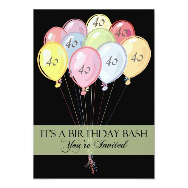 Personalised 40th Birthday Party Invitations Zazzlecouk