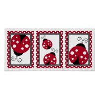 Red Ladybug Polka Dot Nursery Wall Art Print