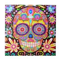 Sugar Skull Ceramic Tile - Day of the Dead Art | Zazzle