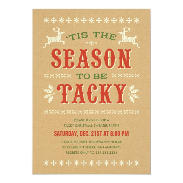 Tacky Christmas Sweater Party Invitations Zazzlecouk