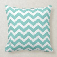 Blue Chevron Stripe Pillow | Zazzle