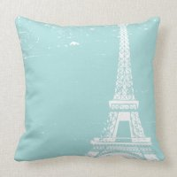 Blue Eiffel Tower Custom Cotton Pillows | Zazzle