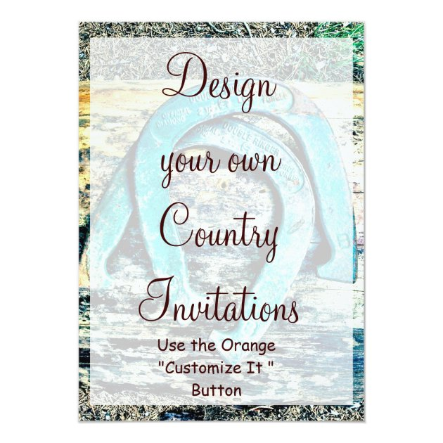 Design Your Own Country Invitations Horseshoes Zazzlecomau