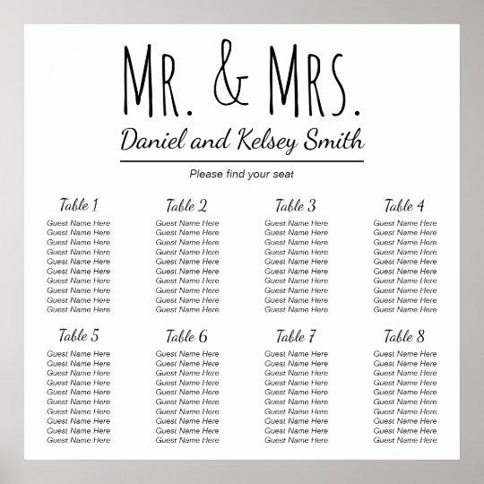 Easy Wedding Seating Chart Poster Zazzleau