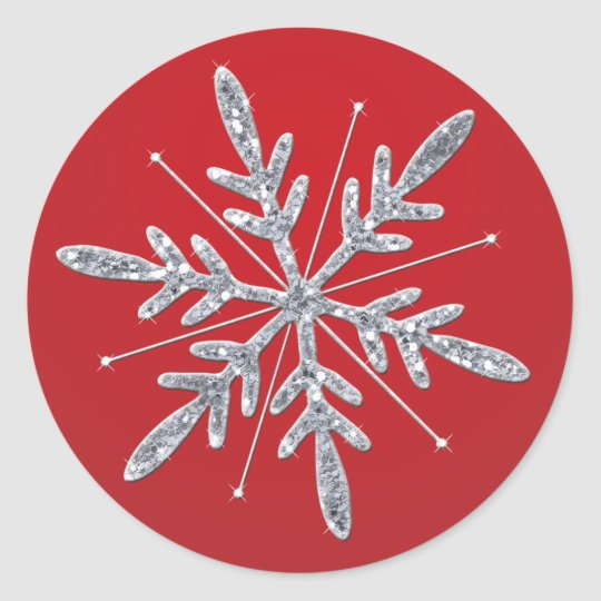 Glittery red and silver snowflake sticker zazzle