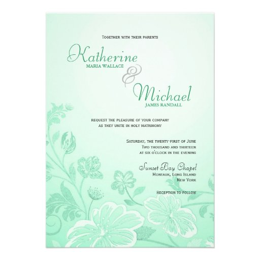 Mint Green Floral Wedding Invitations 13 Cm X 18 Cm