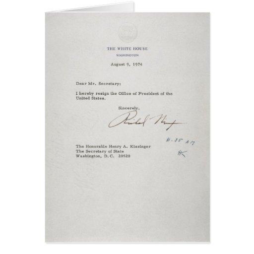 Nixon Resignation Letter, Today\u0027s Document \u2022 Richard M Nixon\u0027s