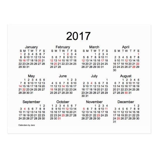 2017 Mini Calendar by Janz with Holidays Postcard Zazzle