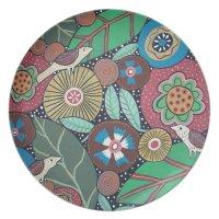 3 Bird Botanical Dinner Plate   Zazzle