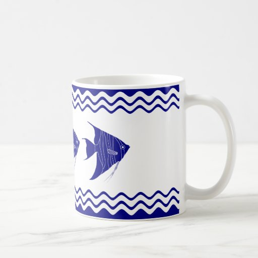 3 Navy Blue And White Coastal Decor Angelfish Coffee Mug
