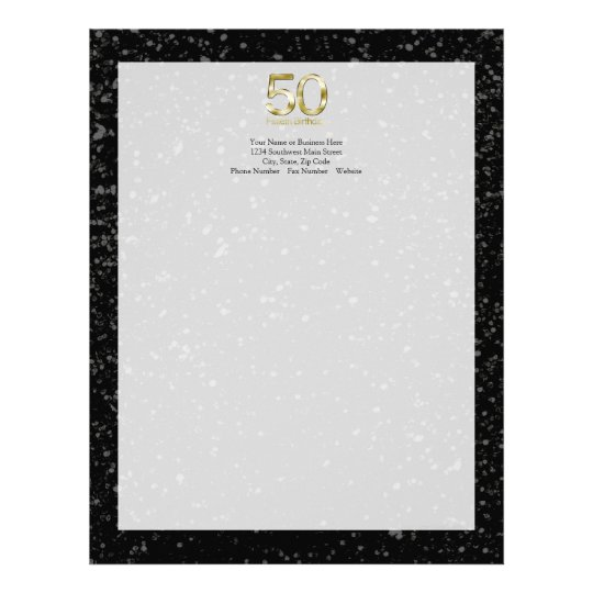 50th Birthday, Elegant Black Gold Glam Letterhead Zazzle