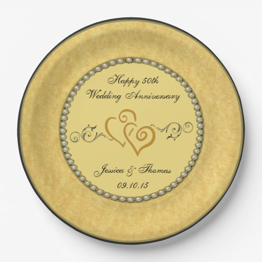 50th Golden Wedding Anniversary Paper Plate 9 Inch Paper