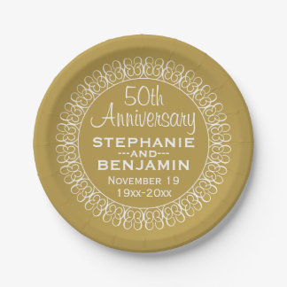 50th Wedding Anniversary Personalized 7 Inch Paper Plate