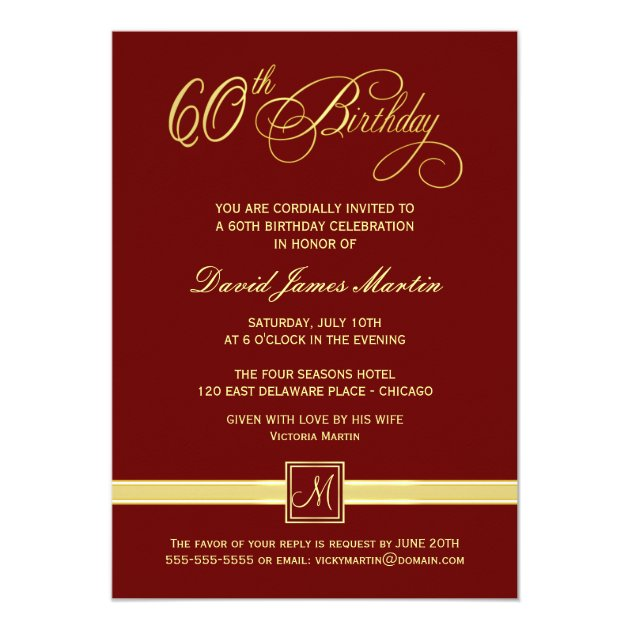 60 th birthday invites