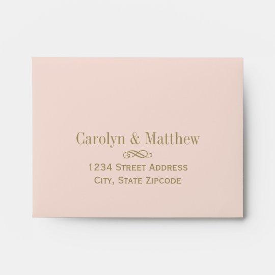 A2 RSVP Envelope Blush Antique Gold Return Address Zazzle - wedding rsvp envelope size