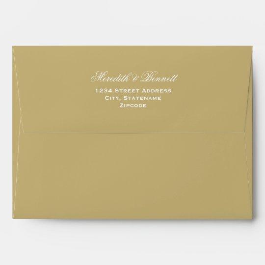 A7 Light Antique Gold Wedding Return Address Envelope Zazzle