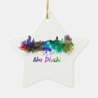 Abu Dhabi skyline in watercolor Double-Sided Star Ceramic Christmas Ornament