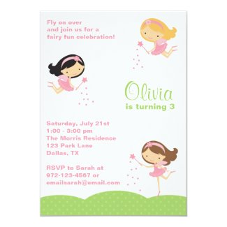 Adorable Little Fairies Invitations Personalized Invitations