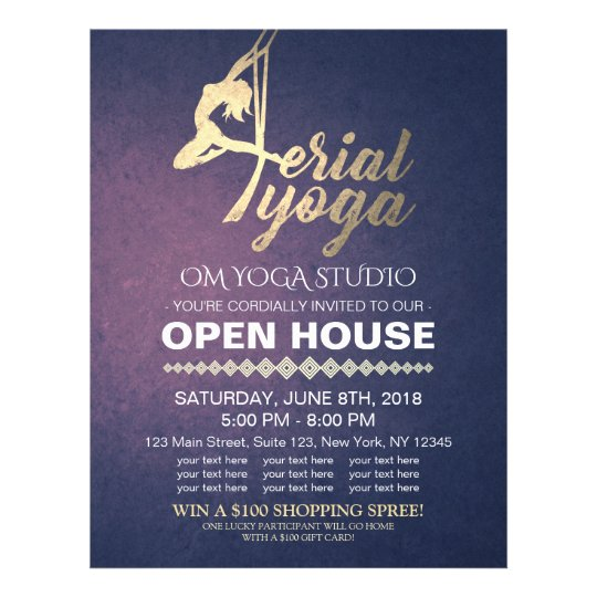 Aerial YOGA Meditation Fitness Studio Open House Flyer Zazzle - open house flyer