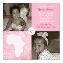 Africa Block: Soft Pink 5.25x5.25 Square Paper Invitation Card