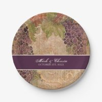 Aged Grape Vineyard Wedding Reception Decor Paper Plate ...