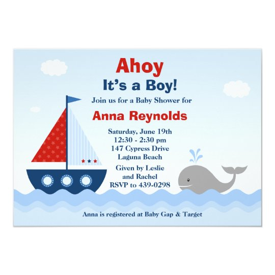 Ahoy Its A Boy Baby Shower Invitation Zazzlecom