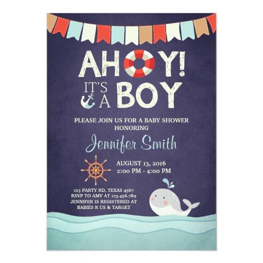 Ahoy It39s A Boy Shower Invitation Ocean Nautical Zazzle